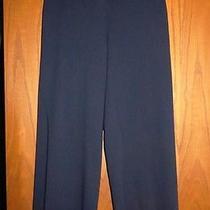 Escada 790 Navy Blue Smooth Stretch Wool Wide Leg Cropped Pants 38 8 Photo