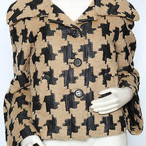Escada Beige Black Boxy Houndstooth Wool Coat Jacket Sz 40 Us 6 Nwt 2450 Photo