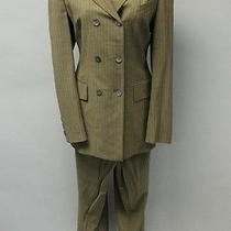 Escada Beige Tan Wool Pinstriped Blazer Cuffed Wide Leg Pants Suit Sz 42 Photo