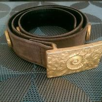 Escada Belt Suede Leather Gold Tone Buckles Unique  Very Rare Photo