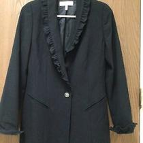 Escada Black Blazer 100% Wool With Ruffles Lined Sz 36 or S Photo
