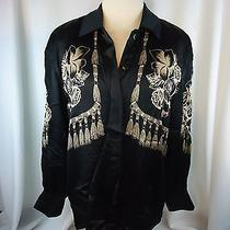 Escada Black Blouse Shirt Womens 36 Silk High End Holiday Christmas Floral Photo