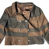 Escada Black Brown Rayon New Wool Double Breasted Blazer Top Jacket Black Wms 40 Photo