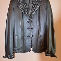 Escada Black/dark Grey Leather Jacket Size 12  - Retail Price   4390 Photo