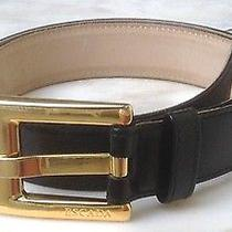 Escada Black Leather Gold Buckle Belt Made in Italy Photo