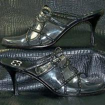 Escada Black Leather W/silver Studs Open Toe Slides Mules Sandals Heels Shoes 39 Photo