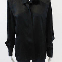 Escada Black Silk Long Sleeve Crewneck Button Down Shirt Sz 38 Photo