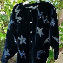 Escada Black Velvet Jacket Coat Moon Stars Sequins Beads Buttons Womens 6  - 8   Photo