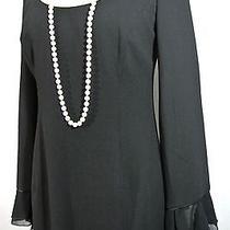 Escada Black Vintage Dress Ruffle Skirt Sleeves Wool Long Straight 42/10/l  Photo