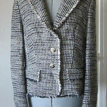 Escada Black White Soft Tweed Jacket Blazer Euro Size 38 Us 8 (Medium) Photo