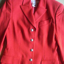 Escada Blazer 100% Cashmere Flame Red Silver Crest Buttons 36 Excellent 2000.  Photo