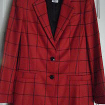 Escada  Blazer 100% Cashmere Window Plaid Red Glass Buttons 36 Excellent 2000.  Photo