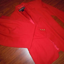 Escada Blazer Jacket Evening Pant Suit Set Career Business Outfit Red Size 40  Photo