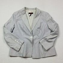 Escada Blazer Womens Size 44 White Blue Coat Jacket Office Button Front Ladies Photo