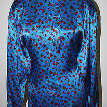 Escada Blue Red Pink Silk Floral Ls Pleat Detail Shirt Blouse Top 38 8 10 M L Photo