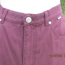 Escada Burgandy Five Pocket Jeans With Silver Name Plate Button & Studs. Sz 42 Photo