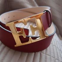 Escada Burgundy Colour Leather Monogram Belt Size 95cm/uk 14-16 Photo