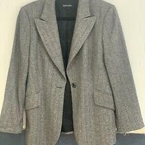 Escada Cashmere Brown Herringbone Blazer Jacket Sz 40 Photo