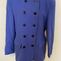 Escada Cashmere Wool Blazer Jacket Blue No Collar Black Button Size 38 Photo