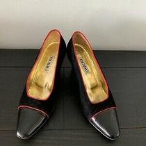 Escada Classic Black Suede Pointed Toe Pump Shoes Women Size 9b Designer Shoes Photo