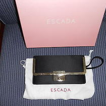 Escada Clutch Purse With Gift Box and bag.black With Gold Trim...for a Night Out Photo