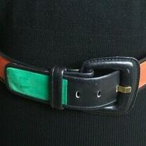 Escada Color Block Red Blue Green Suede Leather Belt Sz 40 00345/4400 W. Germany Photo