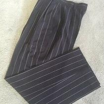 Escada Couture Dark Navy Stripe Trousers Pleated Pants Slacks Sz 36 Excellent Photo