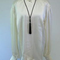 Escada Couture Hidden Placket Pleated Blouse With Tassel Necklace Cream Size 34 Photo
