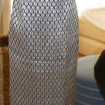 Escada Couture Metallic Silver Black Gray Pencil Skirt Silk Wool Blend Size 42 Photo
