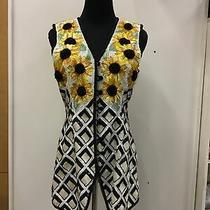 Escada Couture Silk Vest Beaded Sequined Sunflowers Euro Sz 38 Us Sz 8 Photo