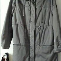 Escada Dove Grey Waterproof Nylon Quilted Funnel Neck Coat Size 42 L Photo