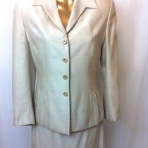 Escada Dress Suit Xs Size 0 Herringbone Skirt Set 2pc Beige Jacket  Skirt Photo