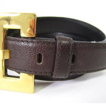 Escada Elements Dark Brown Leather Gold Tone Buckle Belt Sz 34 Photo