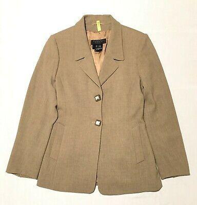 Escada Elements Women Blazer Jacket Fully Lined 100%Wool Sz 8 Check Measurements Photo