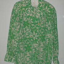 Escada for Neiman Marcus Silk Blouse/green Floral Pop Art Print/ Size 38/6 Photo
