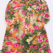 Escada Germany Womens Tropical Print 100% Silk Sheath Button Dress New Sz 42 Photo
