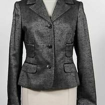 Escada Gray Silk Blend Womens Long Sleeve Notched Collar 3-Button Blazer Size 38 Photo