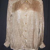 Escada Gray Silver Animal Reptile Print Striped Silk Blend Blouse Top 38 6 8 S Photo