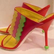 Escada Heels Size. 38 Sexy Open Toe Bright Colors Leather Retails for 350 Photo