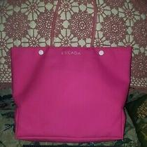 Escada Hot Pink Vinyl Tote Bag Lining Pink Love Graffiti Pretty Two Snaps 12in Photo
