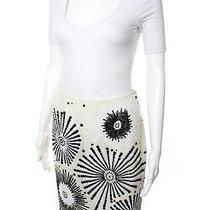 Escada Ivory Black Radial Sequin Embellished Pencil Skirt Sz It 36 Photo