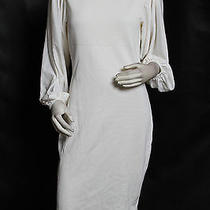 Escada Ivory Cream Ribbed Knit Cotton Dress Sz 40 Us 10 Nwt 1990 Photo