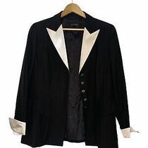 Escada Jacket Tuxedo Tux Vintage 80s White Black Ribbon Corset Long 40 Ladies Photo