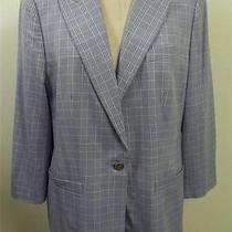 Escada Light Blue & Yellow Plaid Blazer Jacket 44 Photo