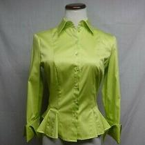 Escada Lime Cotton Stretch Fitted Blouse 34 S Button Up Long Sleeve Fold Cuff Photo