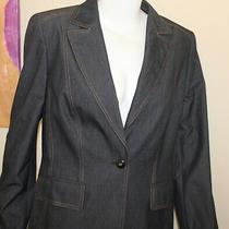 Escada Lux 42 10 12 Dark Denim Jean Twill Neiman Marcus Blazer Jacket  Photo
