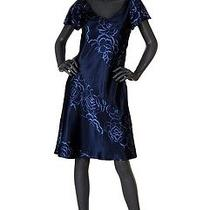 Escada Luxury New Silk Dress Navy in Blue Pattern  Size 36 Photo