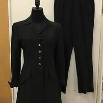 Escada Margaretha Ley 2 Pc Black Wool Pant Suit Jacket Sz 36/6 Pants Sz 38/8 Photo
