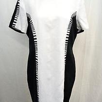 Escada Margaretha Ley Black/ White Linen Piano Print Short Sleeve Dress Size 40 Photo