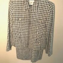 Escada Margaretha Ley Gray Plaid Wool Blend Skirt Suit - Size 38/6 Photo